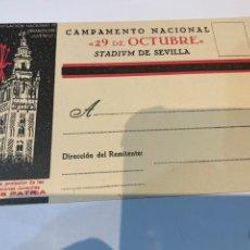 Militaria: POSTAL CAMPAMENTO NACIONAL 29 OCTUBRE STADIVM DE SEVILLA OJE - FRENTE JUVENTUDES - FALANGE -. Lote 225029461