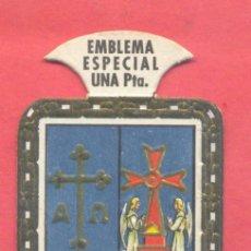Militaria: EMBLEMA AUXILIO SOCIAL ESCUDO DE ASTURIAS ESPECIAL UNA PESETA, CARTON, SERIE B Nº 8, VER FOTOS. Lote 225595528