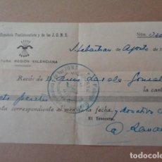 Militaria: FALANGE Y JONS. JEFATURA REGION VALENCIANA. CUOTA AGOSTO 1937, EXPEDIDO EN SAN SEBASTIAN. CURIOSO. Lote 225809595