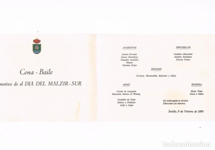 Militaria: TARJETA MENU CENA BAILE DIA DEL MALZIR SUR MANDO APOYO LOGISTICO ZONA INTERREGIONAL SUR SEVILLA 1995 - Foto 2 - 225873093