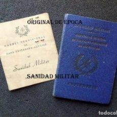 Militaria: (JX-201193)DOS CARNETS DE ENFERMERA , GUERRA CIVIL Y POSGUERRA , FIRMA DE DÑA. MERCEDES MILÁ NOLLA .. Lote 225956737