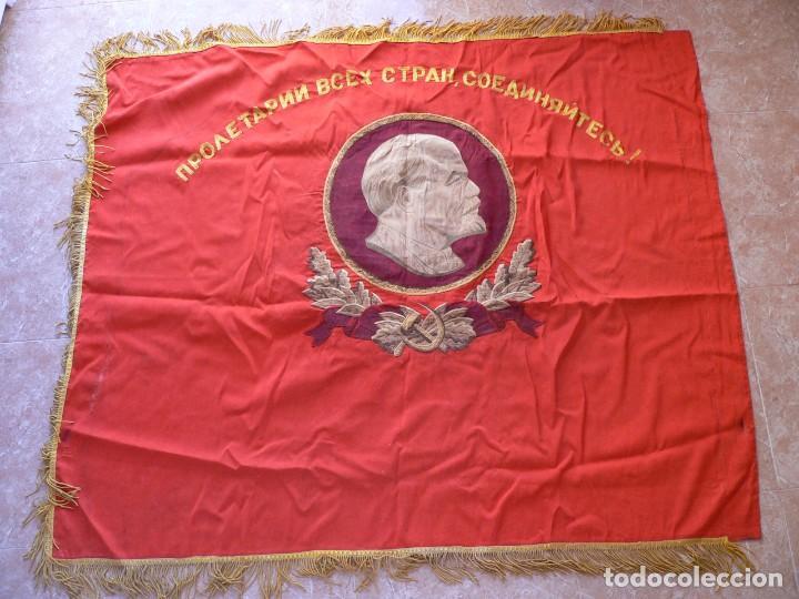 Militaria: URSS AUTENTICA BANDERA SOVIÉTICA (TAMAÑO GRANDE) Tela satinada, bordada - Foto 10 - 226123635