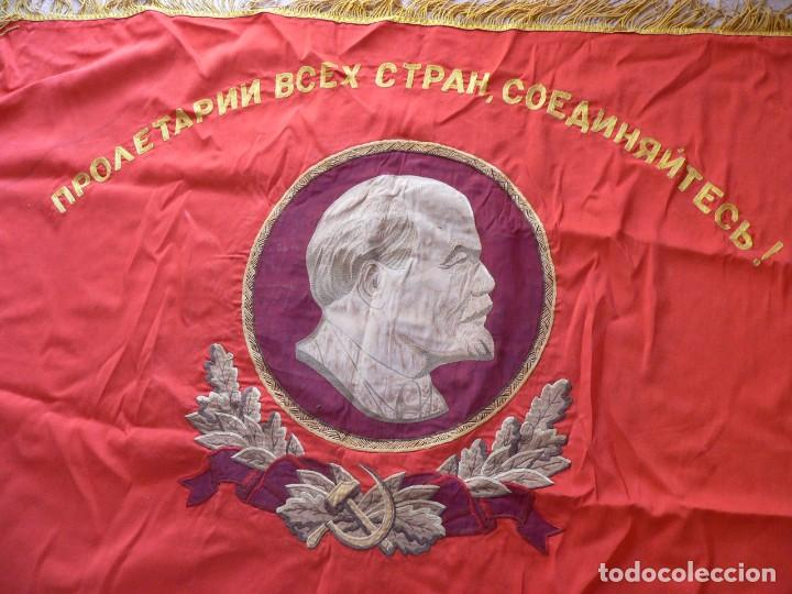 Militaria: URSS AUTENTICA BANDERA SOVIÉTICA (TAMAÑO GRANDE) Tela satinada, bordada - Foto 12 - 226123635