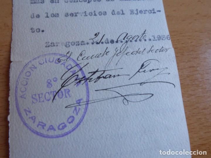 Militaria: Autorización personal Acción Ciudadana Zaragoza. 21 de agosto 1936 - Foto 4 - 226124585