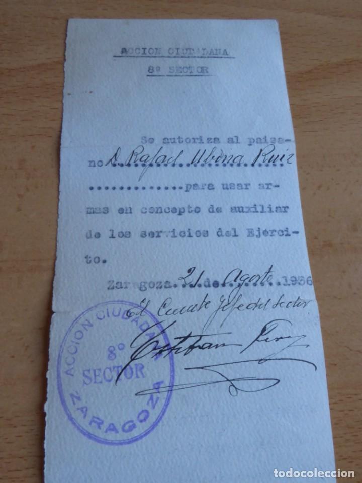 Militaria: Autorización personal Acción Ciudadana Zaragoza. 21 de agosto 1936 - Foto 2 - 226124585