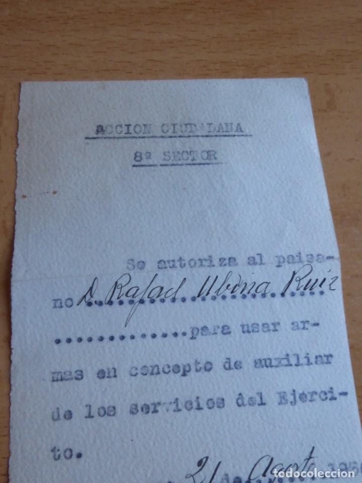 Militaria: Autorización personal Acción Ciudadana Zaragoza. 21 de agosto 1936 - Foto 3 - 226124585