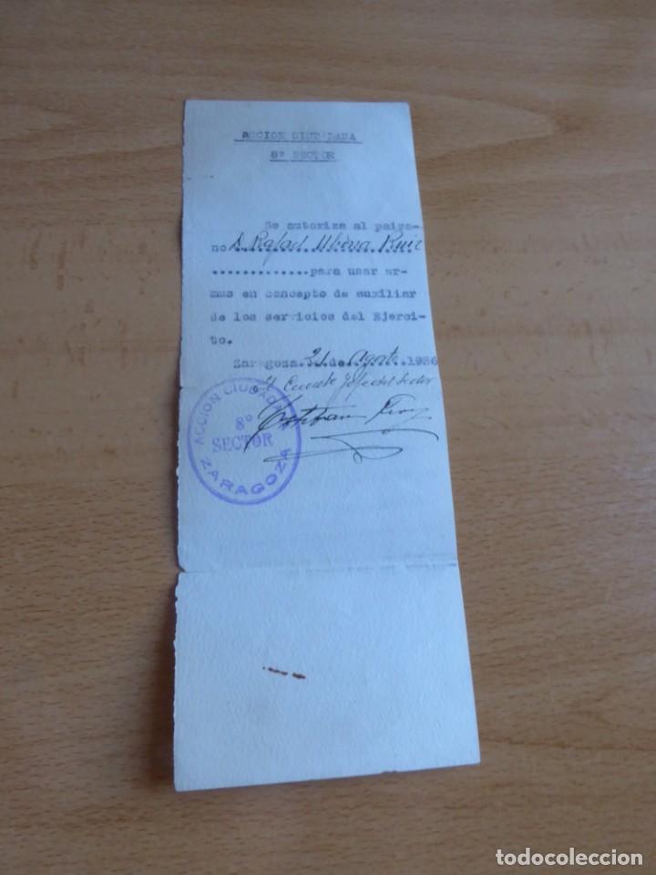 AUTORIZACIÓN PERSONAL ACCIÓN CIUDADANA ZARAGOZA. 21 DE AGOSTO 1936 (Militar - Propaganda y Documentos)