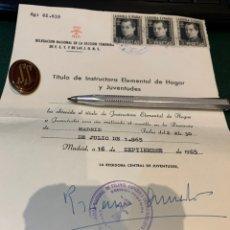 Militaria: INSIGNIA Y DIPLOMA SECCIÓN FEMENINA -DIR. NAC. DE FALANGE ESPAÑOLA T. DE LAS JONS - JUVENTUDES. Lote 228773665