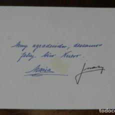Militaria: TARJETA DE FELICITACION DE DON JUAN DE BORBON Y MARIA DE LAS MERCEDES, PADRES DE JUAN CARLOS I MONA. Lote 228842625