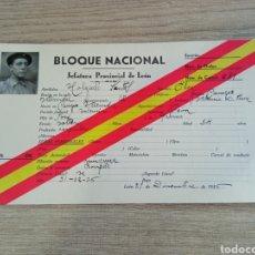 Militaria: CARNET GUERRA CIVIL BLOQUE NACIONAL DE LEÓN. RENOVACIÓN ESPAÑOLA.FALANGE.REQUETE.ESPAÑA.FRANCO.SOMAT. Lote 229196280
