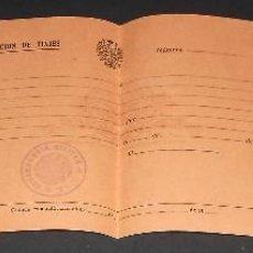 Militaria: AUTORIZACION PASAJE DE TROPA. CON SELLO COMANDANCIA MILITAR DE TUI. TUY. GALICIA. AÑOS 40'S. SIN USO. Lote 229828260