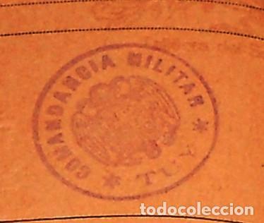 Militaria: AUTORIZACION PASAJE DE TROPA. CON SELLO COMANDANCIA MILITAR DE TUI. TUY. GALICIA. AÑOS 40S. SIN USO - Foto 2 - 229828260