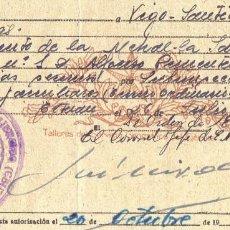 Militaria: AUTORIZACION MILITAR PARA PASAJE DE TROPA. TETUAN. VIGO. SANTIAGO COMPOSTELA. ORENSE. GALICIA. 1947. Lote 229832950
