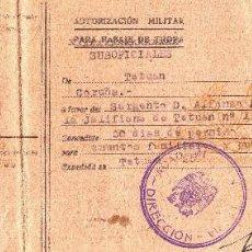 Militaria: AUTORIZACION MILITAR PARA PASAJE DE TROPA. TETUAN. CALDELAS DE TUY. VIGO. CORUÑA. GALICIA. 1948. Lote 229833660