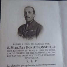 Militaria: RECORDATORIO S.M REY ALFONSO XIII. ROMA 1941. Lote 229880485