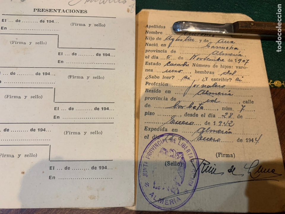 Militaria: Raro carnet de Libertad Vigilada 1941 - Foto 7 - 231099460