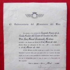 Militaria: DIPLOMA MILITAR. SARGENTO 1º DEL MINISTERIO DEL AIRE. CUERPO DE SANIDAD DEL AIRE. AÑO; 1968. Lote 231818105