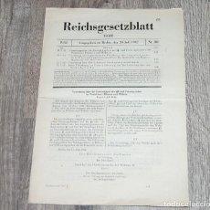 Militaria: REICHSGESETZBLATT - BOLETIN LEGISLATIVO REICH ALEMAN - 29/07/1942. Lote 231917365