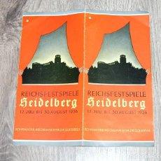 Militaria: PANFLETO PUBLICITARIO DE LAS FIESTAS DE VERANO DE 1936 EN HEIDELBERG - TERCER REICH. Lote 231943405