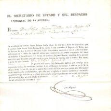 Militaria: MADRID 1842 ACREDITACIÓN USO CRUZ DE DISTINCIÓN BRIGADA ARTILLERÍA MILICIA NACIONAL. Lote 234283125