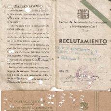 Militaria: MADRID. DOS TARJETAS DE RECLUTAMIENTO. CENTRO DE RECLUTAMIENTO,INSTRUCCIÓN Y MOVILIZACIÓN Nº1. Lote 234288645