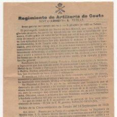 Militaria: REGIMIENTO DE ARTILLERÍA DE CEUTA DESTACAMENTO DE TETÚAN. 1925. ORDEN DEL DÍA.. Lote 235598200