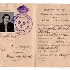 Militaria: CARLISMO. MARGARITAS-DIOS, PATRIA Y REY. PONTEVEDRA.(GALICIA).1937.CARNET DE IDENTIDAD.GUERRA CIVIL.. Lote 235764360