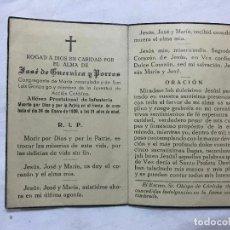 Militaria: RECORDATORIO ESQUELA MUERTO POR DIOS Y POR LA PATRIA , ALFEREZ PROVISIONAL, GUERRA CIVIL, 24/1/1939. Lote 236117290