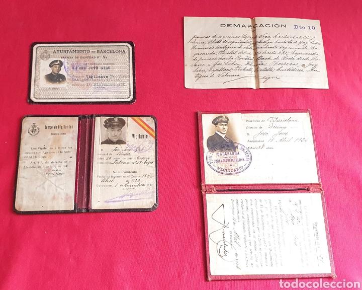 LOTE DE CARNET CUERPO DE VIGILANTES NOCTURNA DE BARCELONA (Militar - Propaganda y Documentos)