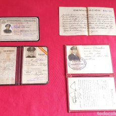 Militaria: LOTE DE CARNET CUERPO DE VIGILANTES NOCTURNA DE BARCELONA. Lote 236555420
