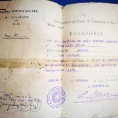 Militaria: PASAPORTE MILITAR 1939 TERCERA REGION MILITAR 3 DIVISION FIRMADO POR CORONEL LUIS. Lote 236778740