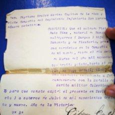 Militaria: CERTIFICADO MILITAR 1939 FIRMADO POR CAPITAN CIPRIANO EROLES MEDINA DE LA 17 COMP. DEL REGIMIENTO. Lote 236780165