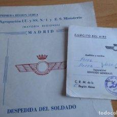 Militaria: DESPEDIDA DEL SOLDADO DEL EJÉRCITO DEL AIRE. AGRUPACIÓN UU. Y SS MADRID 1974. Lote 236978680