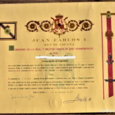 Militaria: NOMBRAMIENTO CABALLERO REAL Y MILITAR ORDEN DE SAN HERMENEGILDO CATEGORÍA PLACA AÑO 1986. Lote 237797725