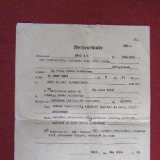 Militaria: STERBEURKUNDE DOCUMENTO CERTIFICADO DE DEFUNCIÓN ALEMÁN III REICH AÑO 1941 II SEGUNDA GUERRA MUNDIAL. Lote 237995970