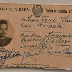 Militaria: TARJETA DE IDENTIDAD EJÉRCITO DE TIERRA, CUERPO DE INGENIEROS - FECHADO EN TENERIFE AÑO 1958. Lote 241232645