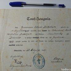 Militaria: TAUF-ZEUGNIS ALEMÁN 1921. Lote 243858650