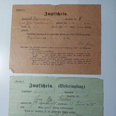 Militaria: 2 IMPFFCHEIN ALEMANES, 1909 .20. Lote 243859665