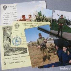 Militaria: LOTE DE DOCUMENTOS Y FOTOGRAFÍAS DE LA MILI. AÑOS 80. CARROS E ARTILLERÍA. Lote 245088245