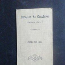 Militaria: BATALLÓN DE CAZADORES LLERENA NÚMERO 11. AÑO DE 1914. HIMNO DEL BATALLÓN. PLANA MAYOR Y MANDOS.. Lote 245574240
