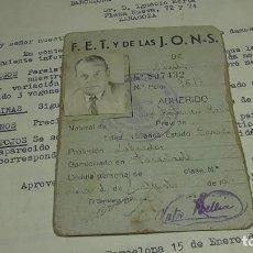 Militaria: FET Y DE LAS JONS CARNET PROVISIONAL. Lote 245610650