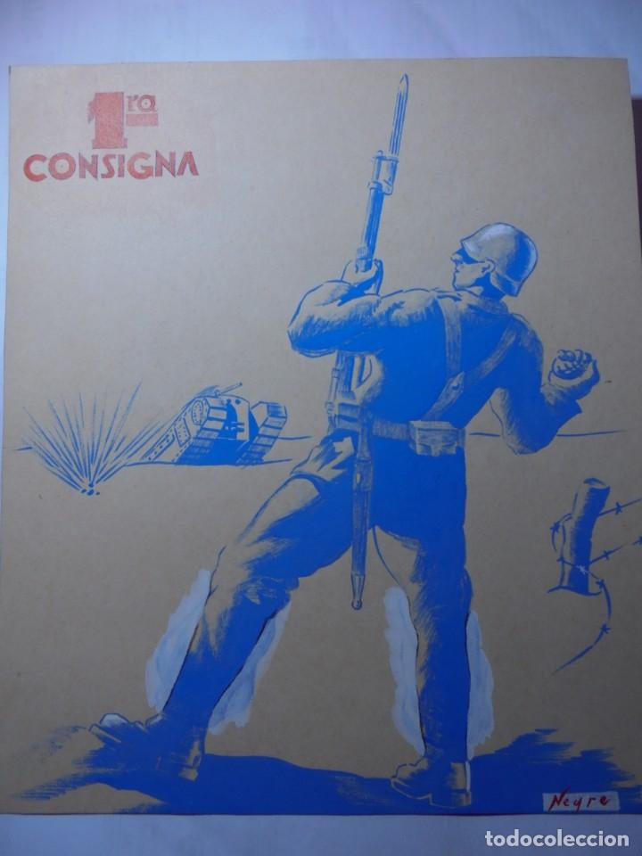 MAGNIFICO CARTEL MAQUETA DIBUJO ORIGINAL 1ª CONSIGNIA,GUERRA CIVIL ESPAÑOLA 1936 (Militar - Propaganda y Documentos)