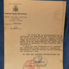 Militaria: ESPAÑA GUERRA CIVIL FALANGE TRASLADO A JEFE MEDICO MILITAR. Lote 248415305