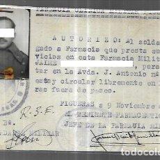 Militaria: TARJETA FARMACIA CLÍNICA MILITAR FIGUERES - 1949. Lote 249520665