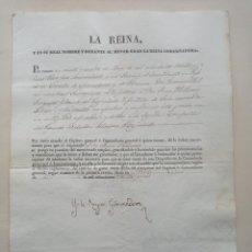 Militaria: MILITAR JUAN PALLASAR. NOMBRAMIENTO DE LA REINA REGENTE , EL PARDO 5 DE ABRIL DE 1836. Lote 250154965