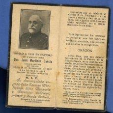 Militaria: RECORDATORIO POR MUERTE DE TENIENTE. 1919. Lote 251008845