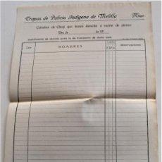 Militaria: TROPAS DE POLICÍA INDÍGENA DE MELILLA AÑOS 1910 - IMPRESO SIN USAR DERECHO RACIÓN CABALLOS CHUIJ. Lote 251189805