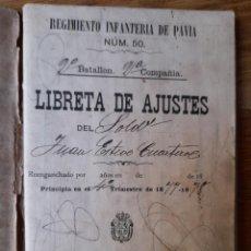 Militaria: LIBRETA DE AJUSTES DEL REGIMIENTO DE INFANTERÍA DE PAVÍA Nº 50 1877-1878 SEVILLA. Lote 251259495