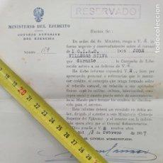 Militaria: DOCUMENTO MILITAR RESERVADO. JOAQUIN GARCIA PALLASAR - CORONEL JOSE VILLEGAS SILVA.. Lote 252292085