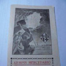 Militaria: MAGNIFICA ESTAMPA KEMPIS MERCEDARIO NOVENA DE 1939 DIA 1 AÑO DE LA VICTORIA VIRGEN MERCED BARCELONA. Lote 252648560